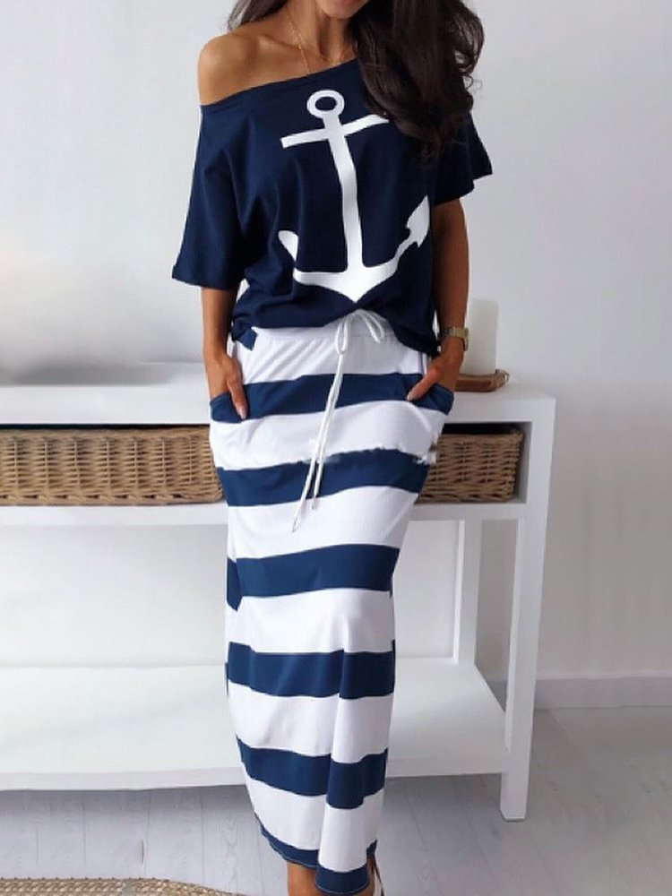 OFF SHOULDER TOP AND LONG SKIRT MARY blue