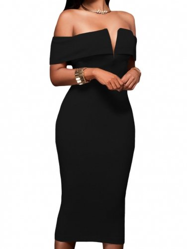 ELEGANT MIDI DRESS LEANORE black