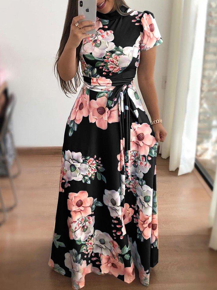 FLOWER PRINT LONG DRESS WITH SHORT SLEEVES SAMANTHA black