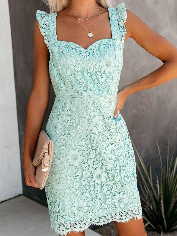 Vestiti Eleganti Verde Acqua.Abito Elegante In Pizzo Lili Verde Acqua Abiti Eleganti Abiti
