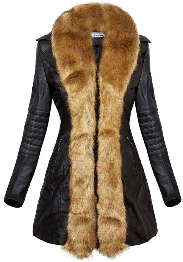 PARKA ELORA fekete, barna szőrmével Kabátok