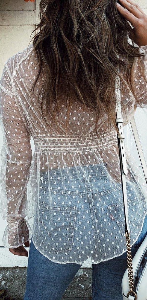 Transparente Netz-Bluse