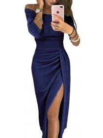 DŁUGA WIECZOROWA SUKIENKA MEAGHAN ciemnoniebieska Sukienki