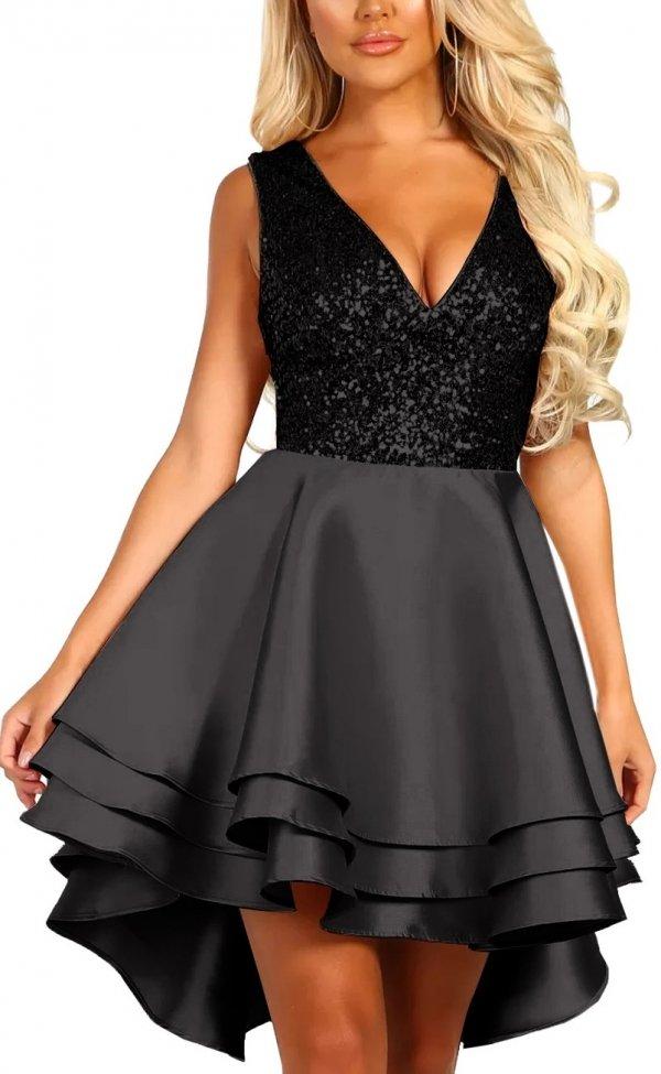 mini glitzerkleid daniella schwarz  abendkleider  kleider