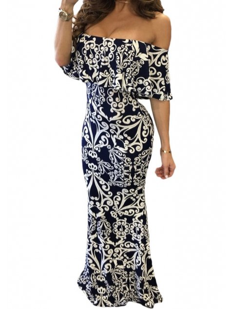 OFF-SHOULDER MAXI DRESS LEYZA white